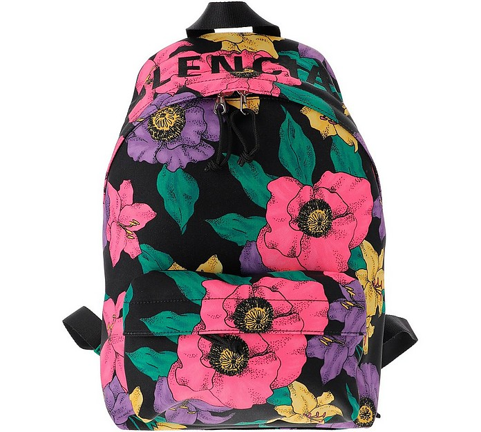 Floral Printed Nylon Backpack - Balenciaga