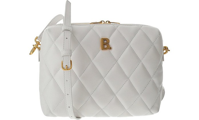 White Quilted Leather B Camera Bag - Balenciaga