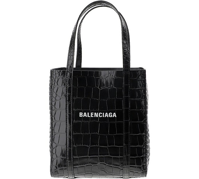 Black Croco Embossed Leather Tote Bag - Balenciaga