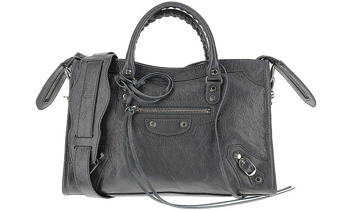Dark Grey Leather City Bag - Balenciaga