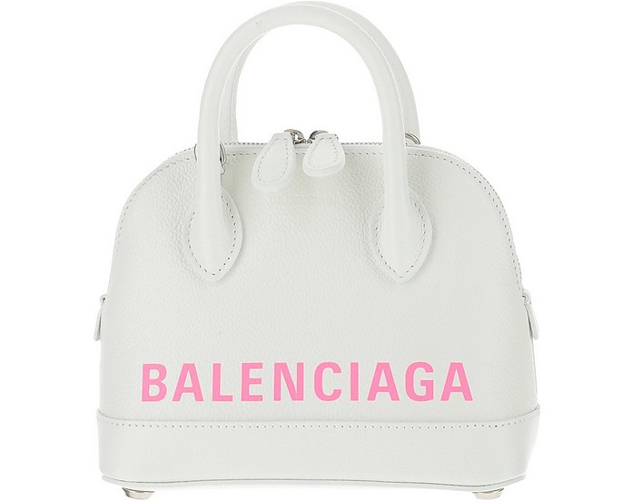 Signature White Leather Ville Top SSX Bowler Bag - Balenciaga