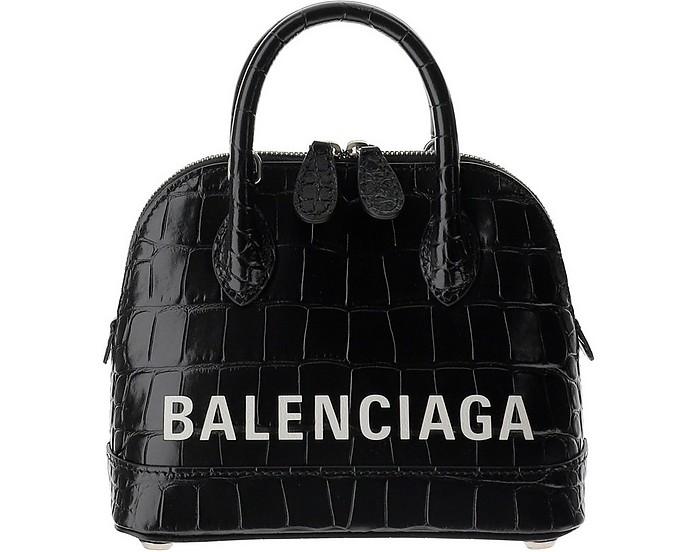 Black Croco Embossed Leather Ville Top SSX Bowler Bag - Balenciaga