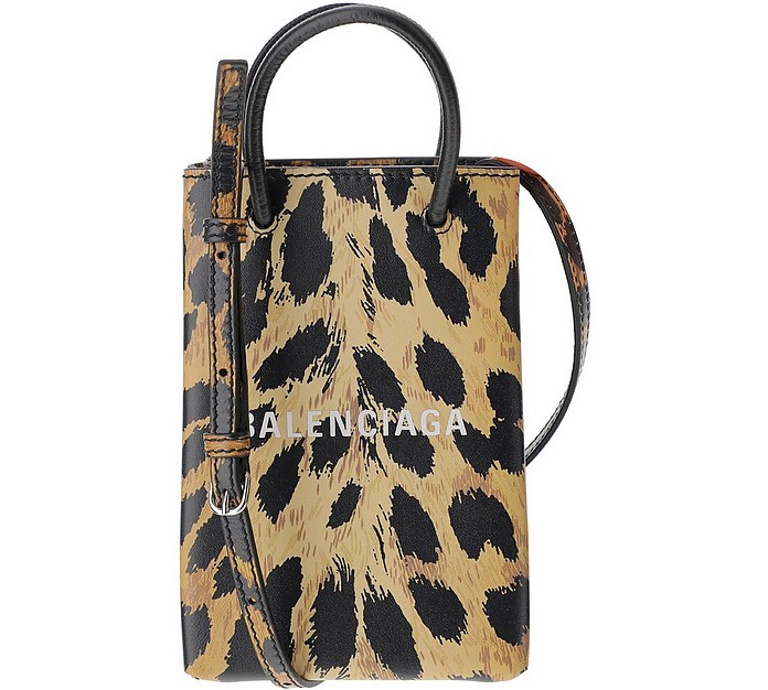 Animal Print Phone Holder Shopping Bag - Balenciaga