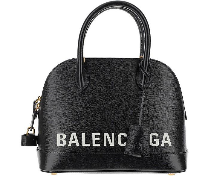 Black Signature Grainy Leather Ville Top Handles Satchel Bag - Balenciaga