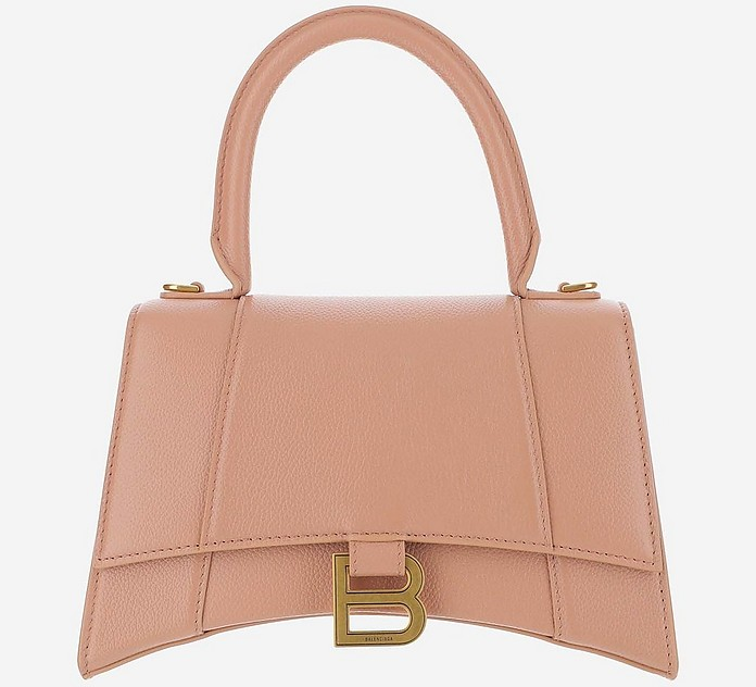 Nude Grainy Leather Small Hourglass Handbag - Balenciaga