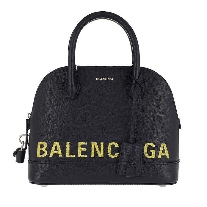 Ville Handle Bag Small Leather Navy/Yellow - Balenciaga