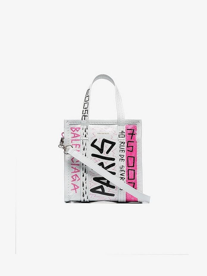 Balenciaga Totes White Xxs Bazar Graffiti Tote Bag