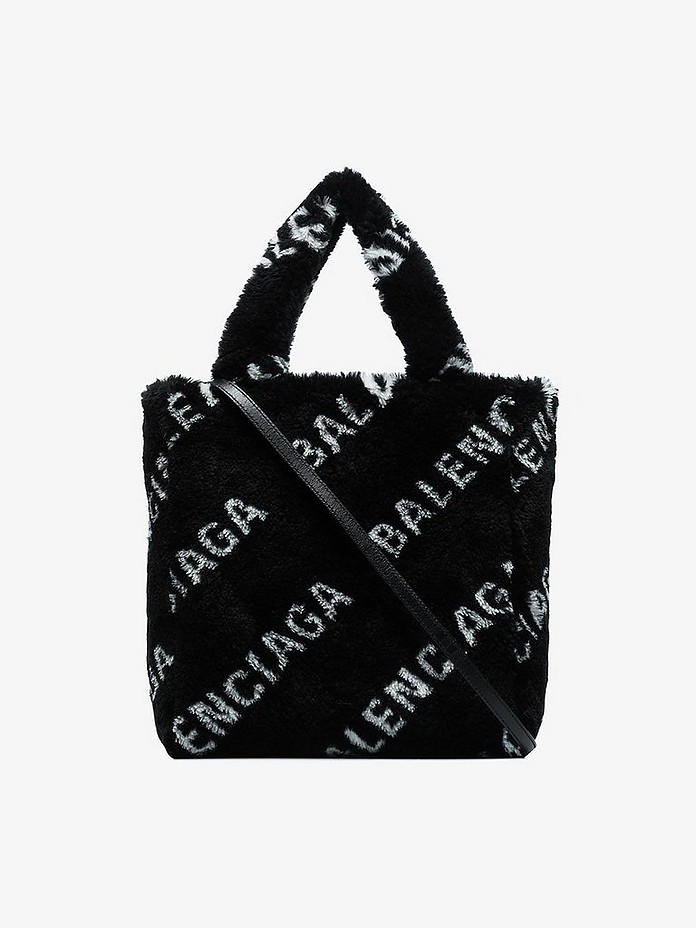 Balenciaga Totes Black Everyday Faux Fur Logo Tote Bag