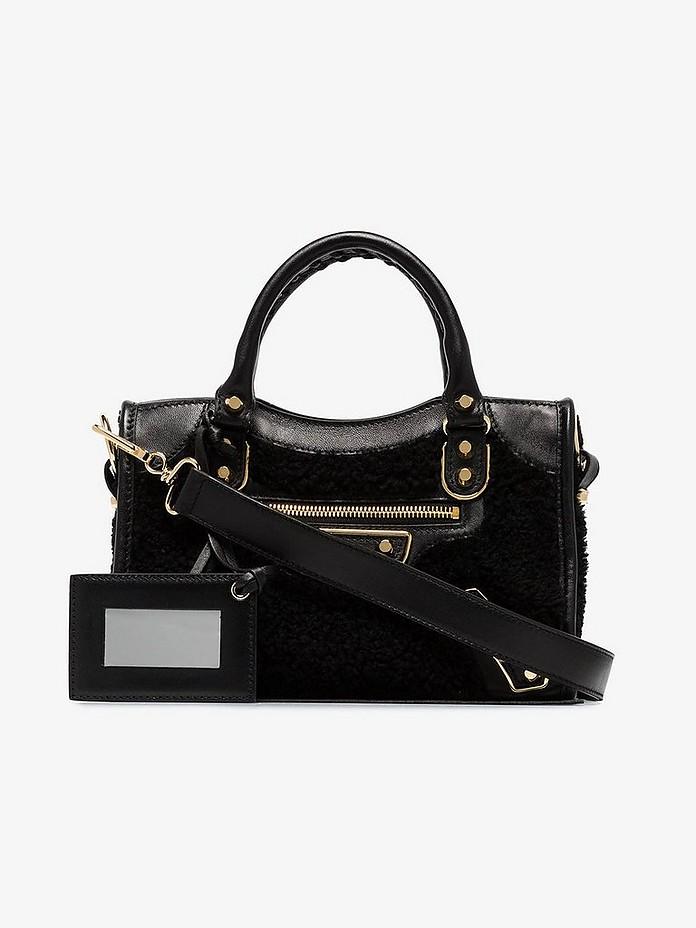 Black City mini shearling leather bag - Balenciaga