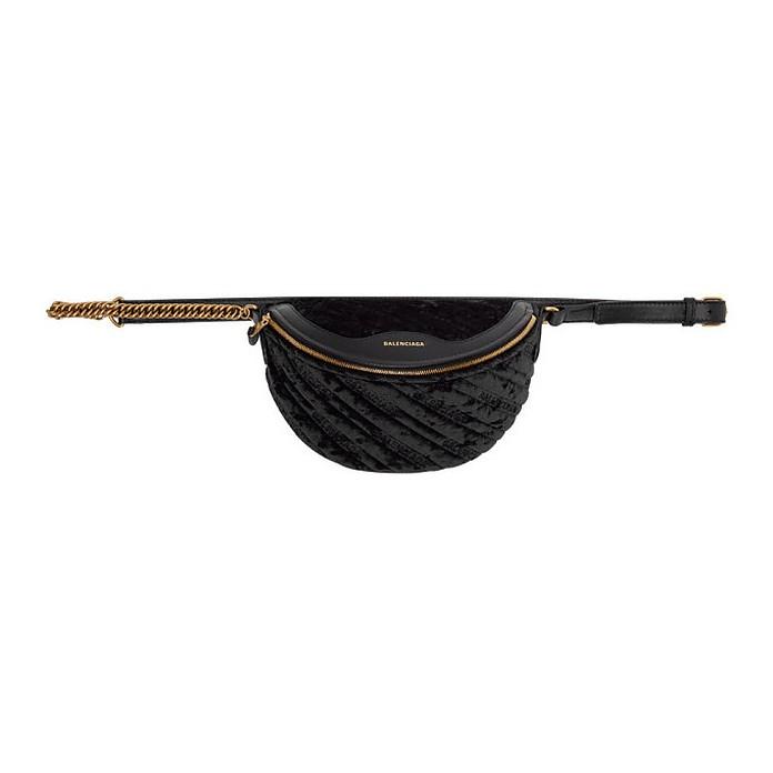 Black Quilted Velvet XXS Logo Souvenir Bag - Balenciaga