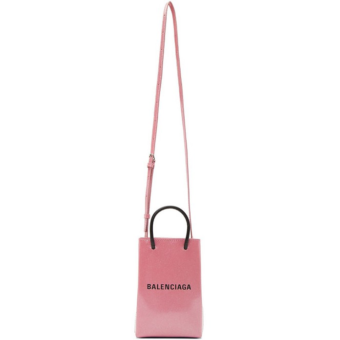 Pink Glitter Shopping Phone Holder Bag - Balenciaga 巴黎世家