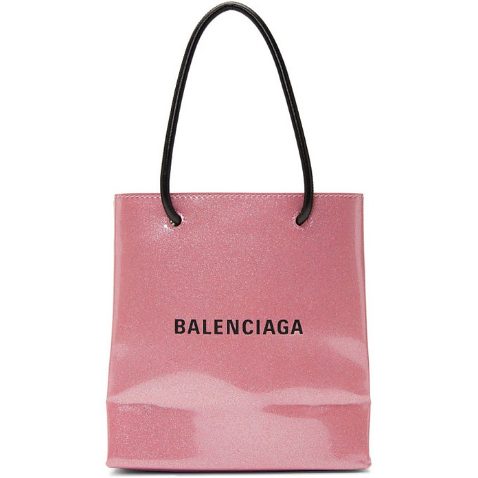 Pink Glitter Everyday Shopping Tote - Balenciaga