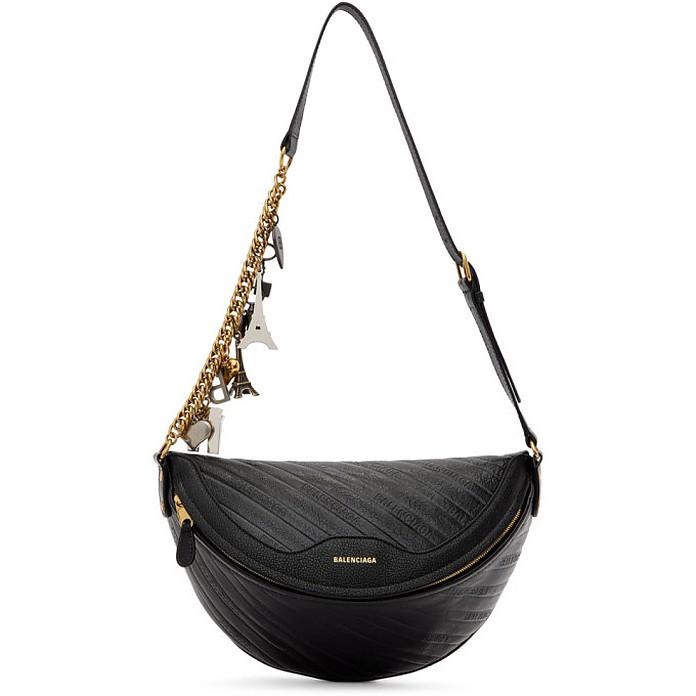 Black Leather Souvenir Bag - Balenciaga