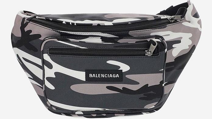 Grey Camo Printed Nylon Men's Waistbag - Balenciaga