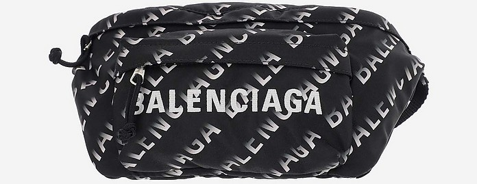 Allover Signature Print Black and White Nylon Belt Bag - Balenciaga