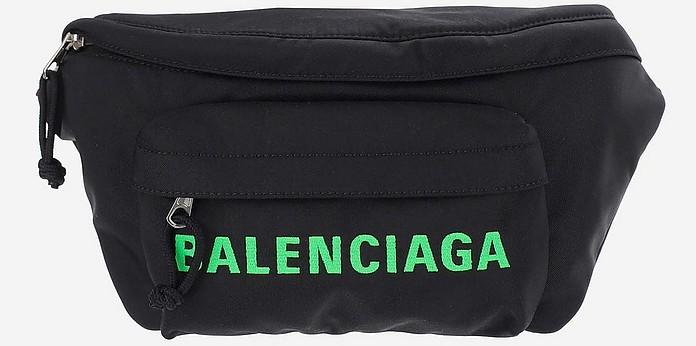 Black Nylon Men's Waistbag w/Green Signature Print - Balenciaga