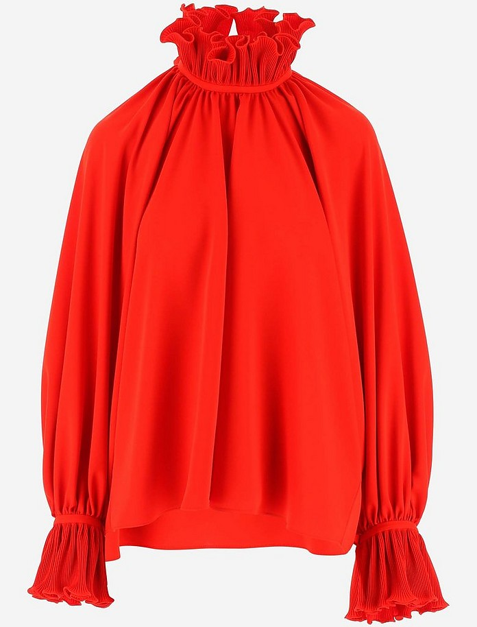 Red Ruffles Women's Blouse - Balenciaga