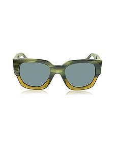 BA0011 65V Green & Yellow Acetate Women's Sunglasses - Balenciaga