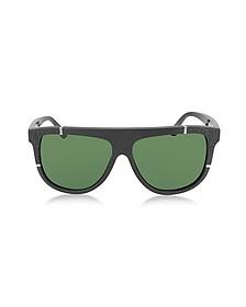 BA0025 Acetate Shield Women's Sunglasses w/Rubber Details - Balenciaga