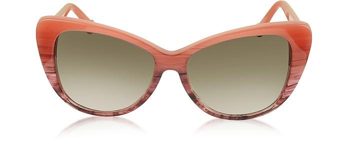 BA0016 44F Coral Striped Burgundy Cat Eye Women's Sunglasses - Balenciaga
