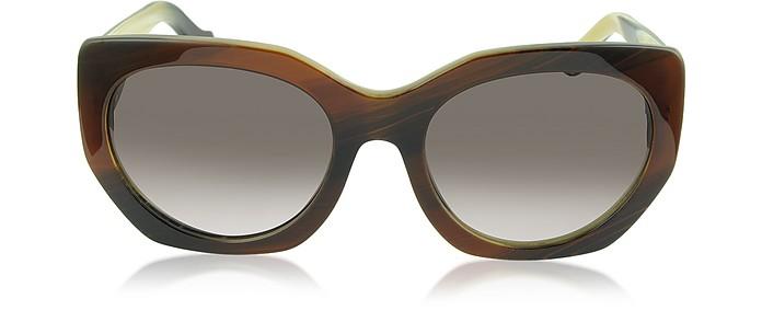 BA0017 47T Brown Horn Acetate Cat Eye Sunglasses - Balenciaga