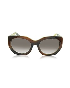 BA0017 47T Brown Horn Acetate Cat Eye Sunglasses