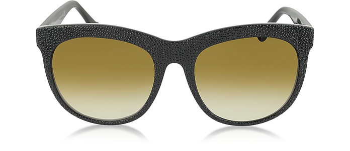 BA0024 04F Black Rubber & Acetate Cat Eye Sunglasses - Balenciaga