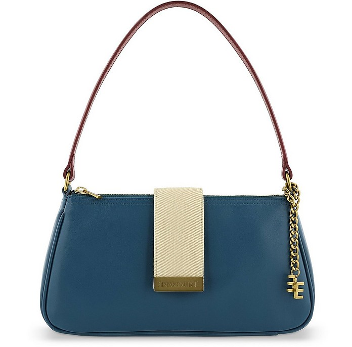 Azure Blue and Red Leather and Canvas Shoulder Bag - Enamoure