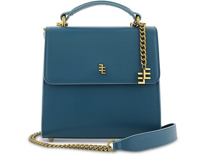 CÉCILE Blue Leather Top Handle Satchel Bag - Enamoure