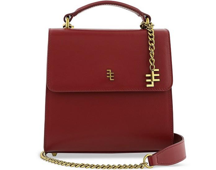Cerise Red Leather Top Handle Satchel Bag - Enamoure