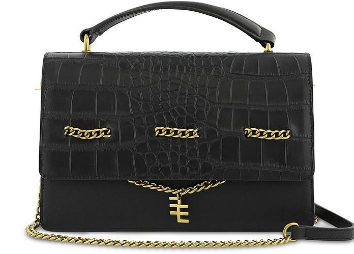 Eliza Black Croco Embossed Top Handle Bag - Enamoure