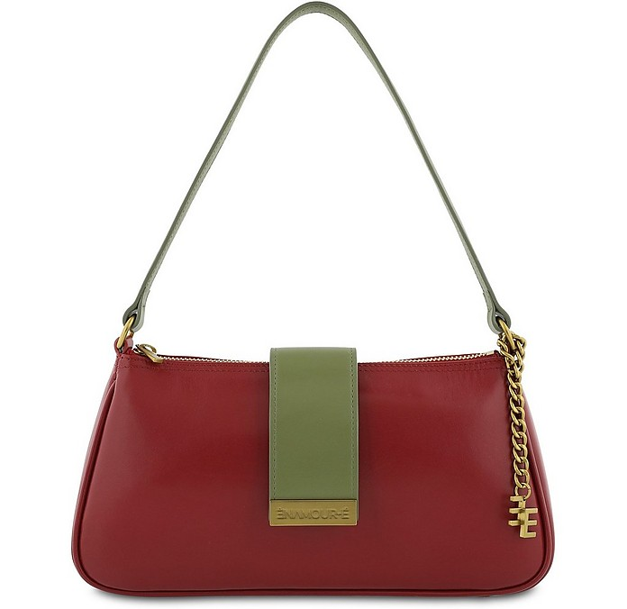 Jeanne Cherry Red Leather Shoulder Bag - Enamoure