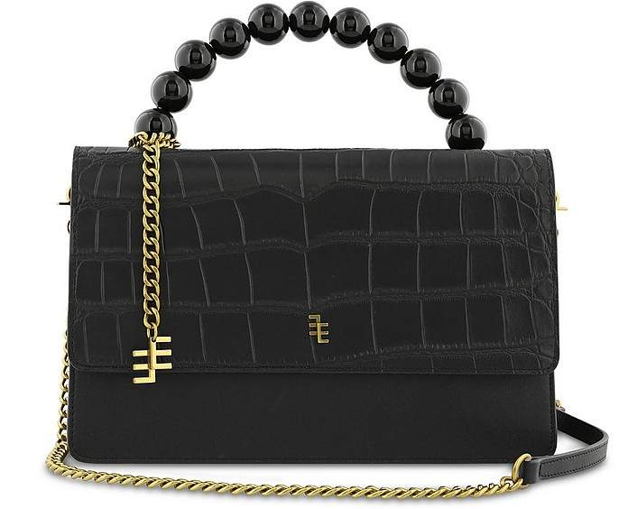 Kiera Black Croco Embossed Leather Satchel Bag - Enamoure