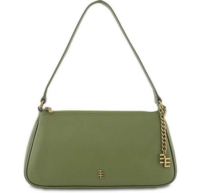Olive Green Leather Shoulder Bag - Enamoure
