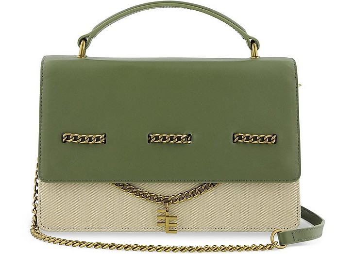 Solange Canvas and Leather Top Handle Satchel Bag - Enamoure