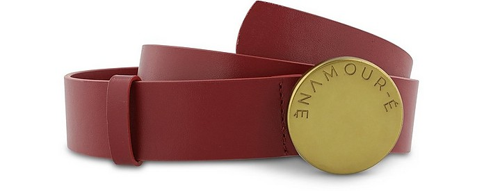Clio Red Leather Women's Belt - Enamoure
