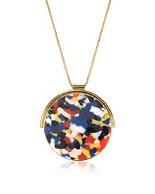 Arlequin Golden Brass Long Necklace w/Multicolor Round Pendant - Egotique