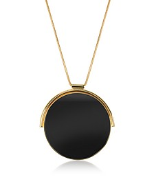 Arlequin Golden Brass Long Necklace w/Black Round Pendant - Egotique