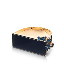Arlequin Golden Brass Cuff w/Black Top and Two Tone Crystals - Egotique