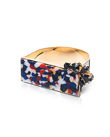 Arlequin Golden Brass Cuff w/Multicolor Top and Black Crystals - Egotique