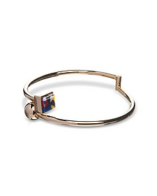 Arlequin Golden Brass Thin Bangle w/Multicolor Stone  - Egotique