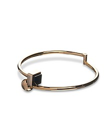 Arlequin Golden Brass Thin Bangle w/Black Stone  - Egotique
