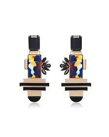 Golden Brass Drop Earrings w/Crystals - Egotique