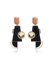 Golden Brass Geometric Drop Earrings w/Crystals - Egotique