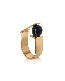 Arlequin Golden Brass Ring w/Black Glass Pearl - Egotique