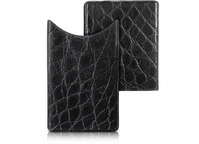 Crocodile-Embossed Leather Card Case - Peroni