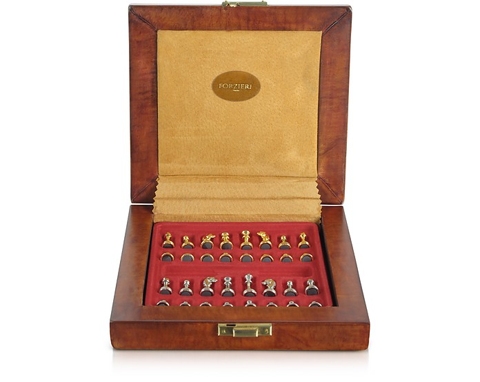 Genuine Leather Chess Board with Magnetic Pieces - Forzieri