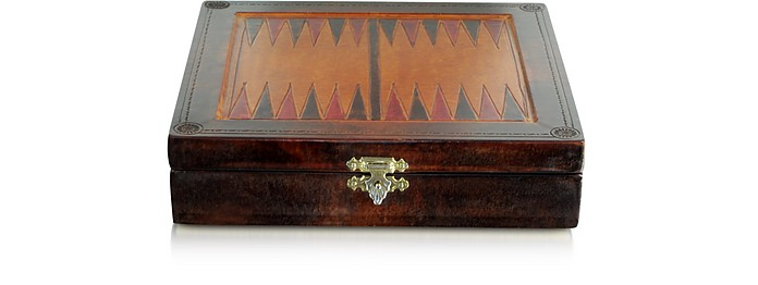 Genuine Leather Backgammon Board with Magnetic Pieces