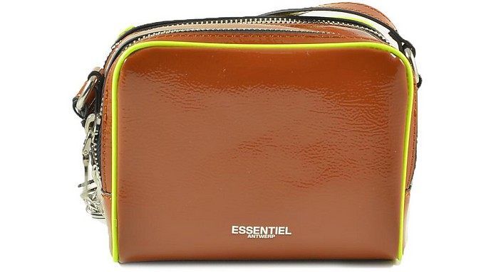 Brown Double Zippered Compartment Shoulder Bag - Essentiel Antwerp