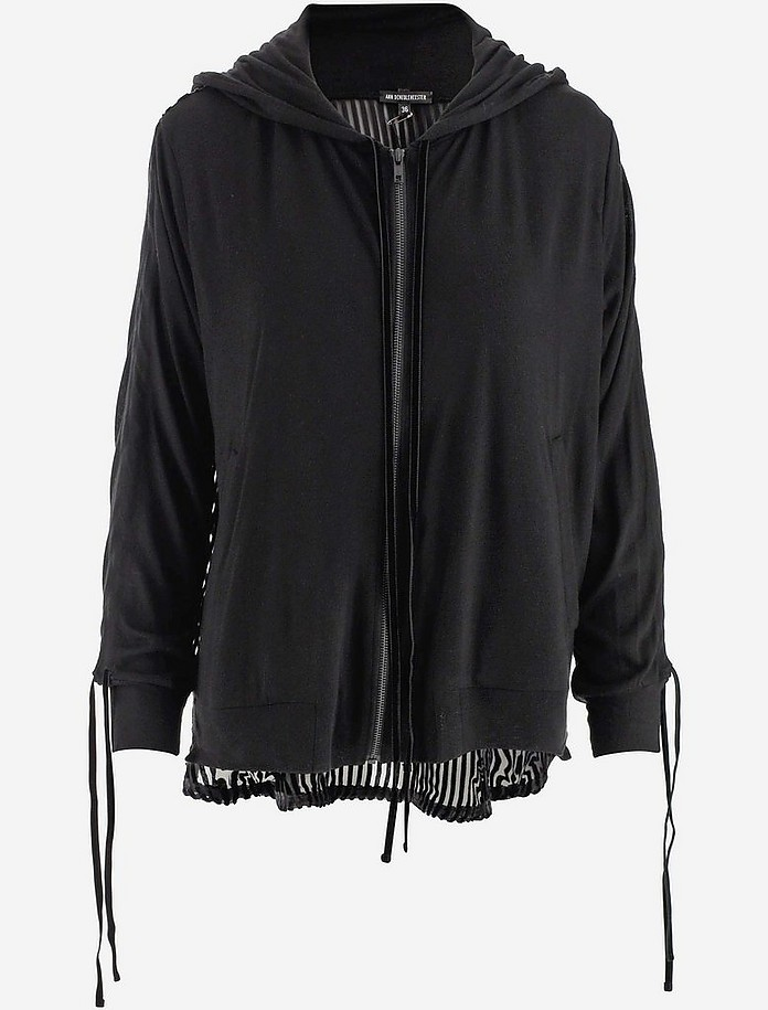 Black Women's Long Zip-Up Hoodie - Ann Demeulemeester